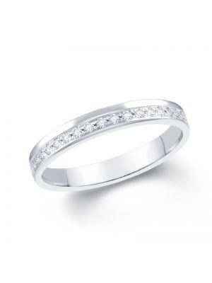 18ct White Gold Pave Set Diamond Wedding Band