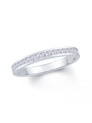 18ct White Gold Princess Cut Diamond Set Wedding Band