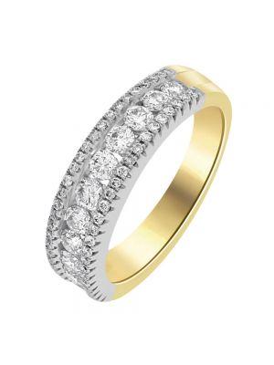 18ct Yellow Gold Three Row Round Brilliant Diamond Eternity Ring