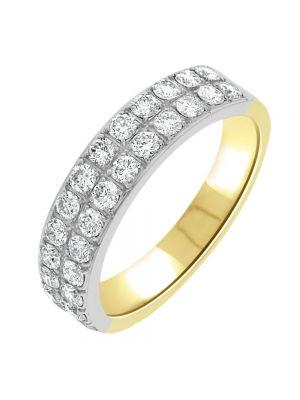 18ct Yellow Gold Two Row Round Brilliant Diamond Eternity Ring
