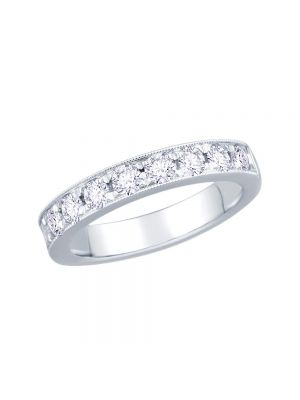 18ct White Gold 8 Diamond Pave Set Eternity RIng