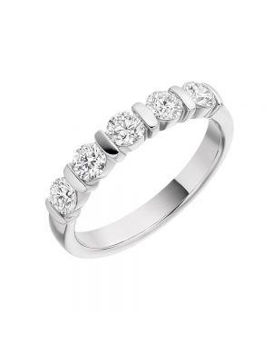 18ct White Gold Five Stone Diamond Eternity Ring