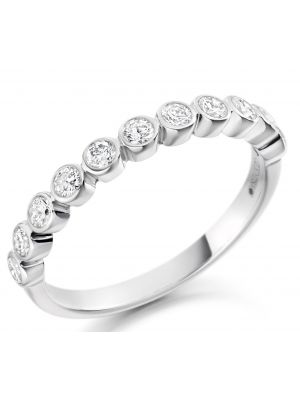 18ct white gold round brilliant rubover style eternity ring