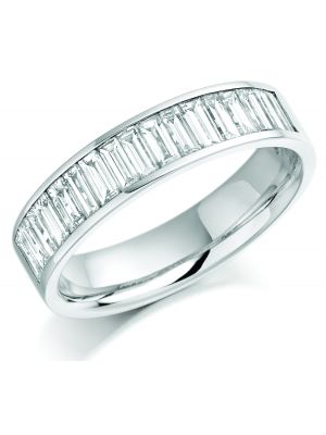 18ct white gold channel set baguette diamond eternity ring