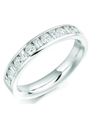 18ct white gold round brilliant & baguette diamond eternity ring