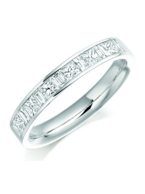 18ct white gold princess & baguette cut channel set eternity ring