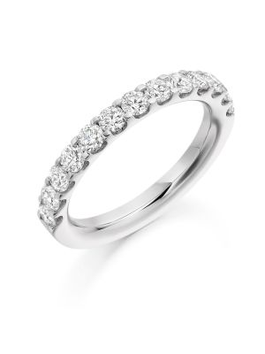 18ct white gold micro claw set round brilliant diamond eternity ring