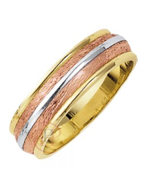 9ct White, Yellow and Rose Gold Gents Wedding Band