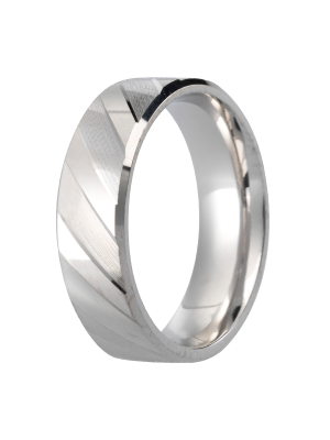 Sterling Silver Gent's Wedding Ring with Angled Line Design