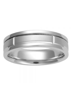 9ct White Gold Brushed Centre Gents' Wedding Band