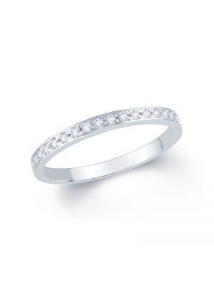 18ct white gold round brilliant pave set wedding band