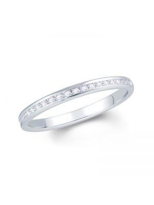 18ct white gold channel set round brilliant diamond wedding band