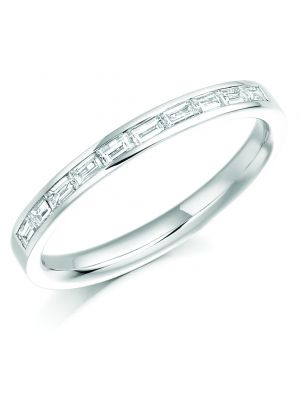 18ct white gold diamond baguette wedding band