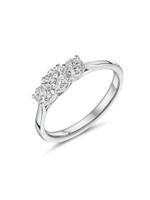 18ct white gold 3 stone Lab diamond ring