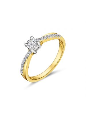 18ct yellow gold solitaire diamond with twist diamond set shoulder engagement ring