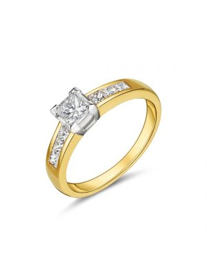 18ct yellow gold princess cut diamond engagement ring with diamond set shoulders
