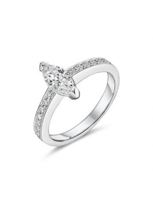 18ct white gold marquise diamond ring with diamond set shoulder