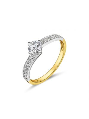 18ct yellow gold twist solitaire diamond engagement ring with twist diamond shoulder