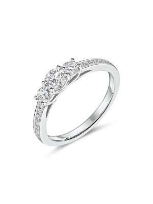 18ct white gold graduated 3 stone ring with diamond set shoulder