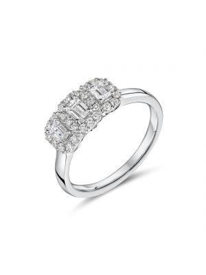 18ct white gold 3 stone emerald cut diamond ring with diamond surround