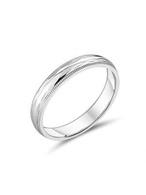 9ct White Gold 4mm Gents Wedding Band