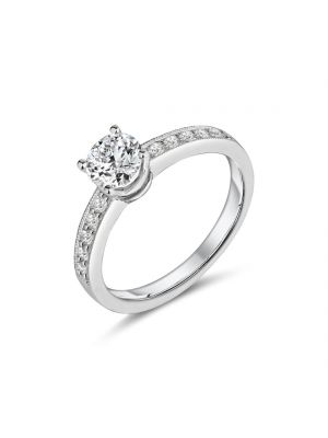 18ct white gold solitaire diamond engagement ring with diamond set shoulders
