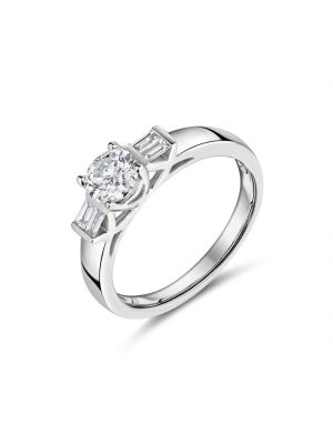 18ct white gold solitaire diamond ring with baguette diamonds