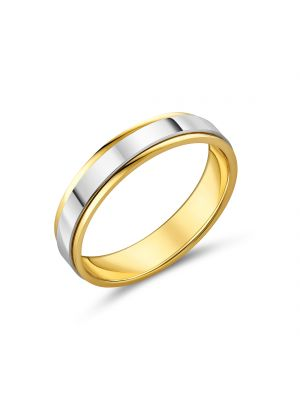 9ct Two Tone 5mm Gents Wedding Band