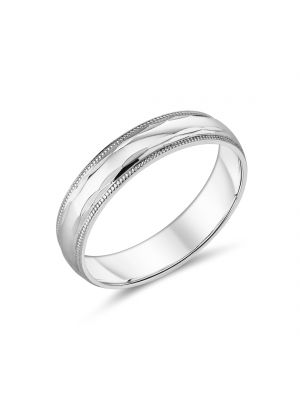 9ct White Gold Beaded Design Gents Wedding Band