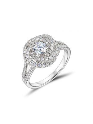 18ct White Gold Round Brilliant Diamond Cluster Ring