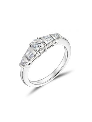 18ct White Gold Graduated Set Engagement Ring