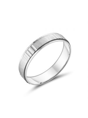 9ct White Gold Gents Wedding Bands with Groove Design
