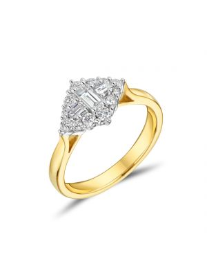 18ct Yellow Gold Baguette and Round Brilliant Diamond Cluster Ring