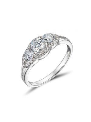 18ct White Gold Split Band 3 Stone Ring
