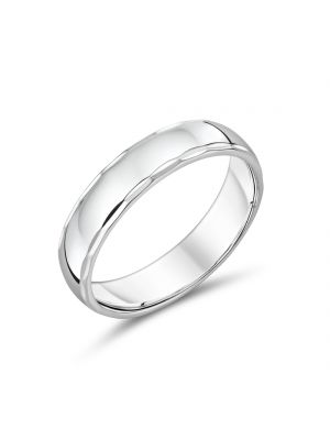 9ct 5mm White Gold Comfort Fit Gents Ring