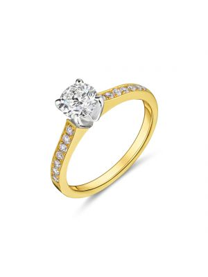 18ct yellow gold classic solitaire diamond ring with diamond set shoulders