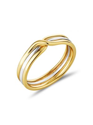 9ct Two Tone Crossover Design Ladies Wedding Band