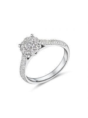 18ct white gold diamond cluster ring with diamond set shoulders
