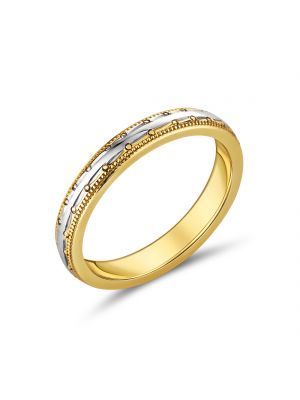 9ct Two Tone Ladies Wedding Band with Beaded Design