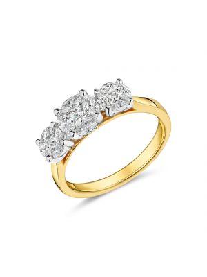 18ct yellow gold three stone diamond cluster ring