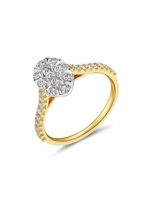 18ct yellow gold oval shape diamond cluster ring with diamonds on the shoulder