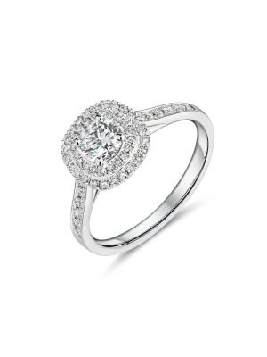 18ct white gold halo style diamond ring with diamond set shoulders