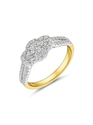 18ct yellow and white gold diamond  3 stone diamond ring with diamond surround and diamond set shoulders