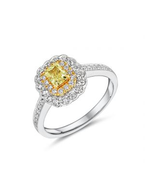18ct white gold halo style Fancy Yellow diamond ring