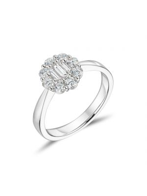 18ct White Gold Baguette and Round Brilliant Diamond Cluster Ring