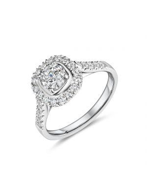Platinum halo style diamond ring with diamond set shoulders