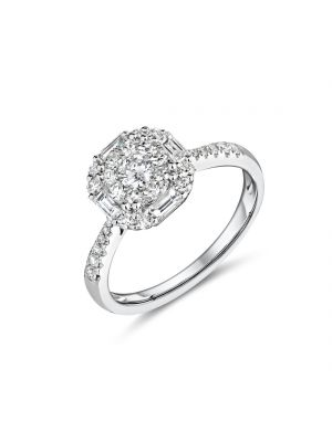 18ct white gold halo style diamond cluster ring with diamonds on the shoulders
