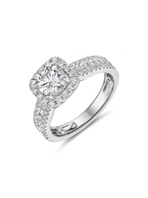 18ct white gold halo style diamond ring with three row diamond set shoulders