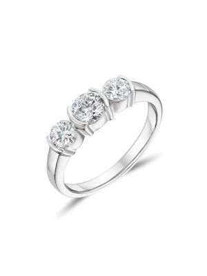 18ct White Gold 3 Stone Round Brilliant Ring