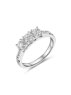 18ct white gold three stone diamond ring with channel set diamond shoulders